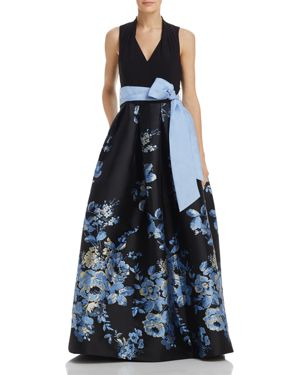 BELTED FLORAL BALL GOWN