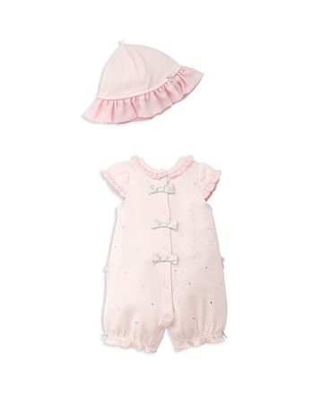 Little Me - Girls' Embroidered Dot-Print Romper & Hat Set - Baby