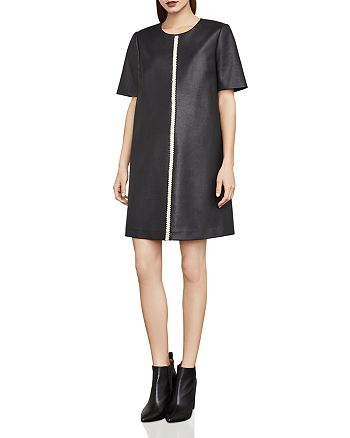 BCBGMAXAZRIA - Bardot Faux Leather Tent Dress