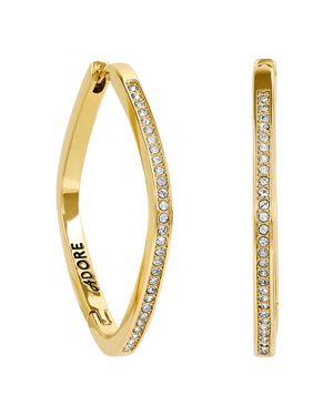 ADORE Soft Square Rhinestone Hoop Earrings, Gold