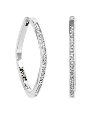 ADORE Soft Square Rhinestone Hoop Earrings, Silver