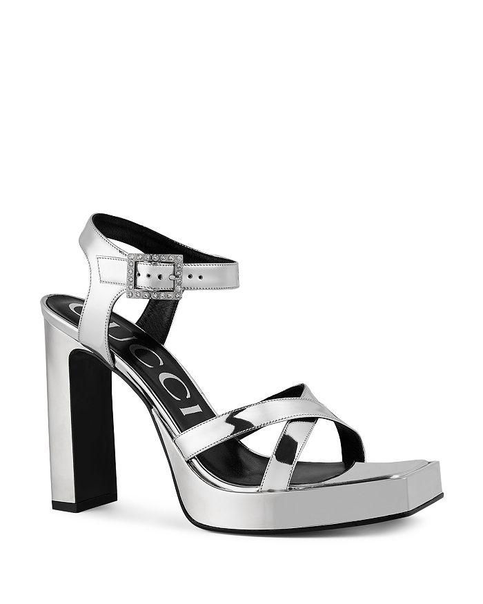 b276ee7e78c Gucci Women s Costanze Leather Ankle Strap Platform Sandals ...