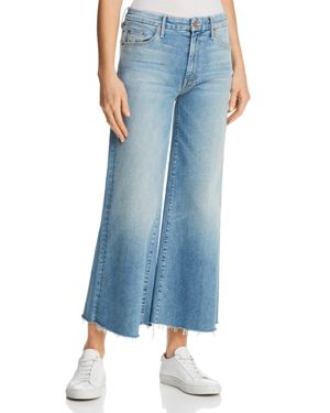 Mother Roller Crop Fray Wide-Leg Jeans in Ready to Roll 2869277