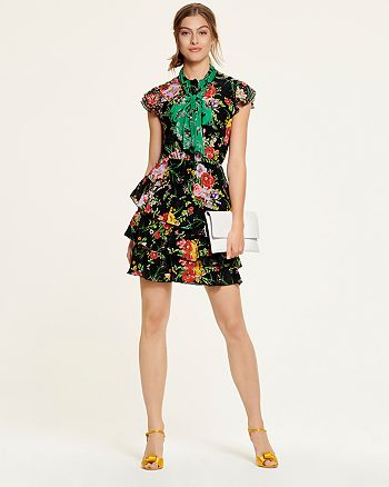 Alice and Olivia - Alice + Olivia Lessie Floral Dress, SJP by Sarah Jessica Parker Ferry Satin Sandals - 100% Exclusives & More