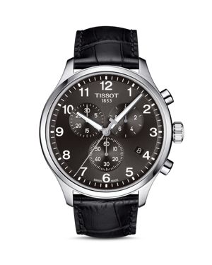 TISSOT T1166171605700 Chrono Xl Classic Stainless Steel And Crocodile-Embossed Leather Strap Watch in Brown