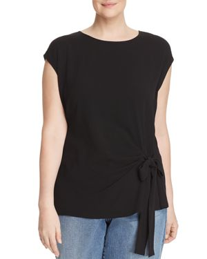 Vince Camuto Plus Tie Waist Mixed Media Top