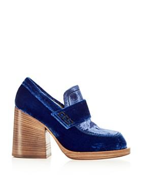 Marni - Women's Mocassino Velvet Block Heel Loafers