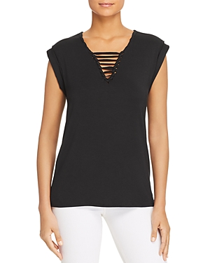 Marc New York Performance Macrame-Neck Tee