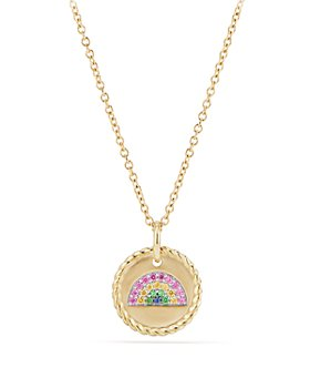 David Yurman - Cable Collectibles Rainbow Necklace with Pink Sapphire, Yellow Sapphire & Tsavorite in 18K Gold
