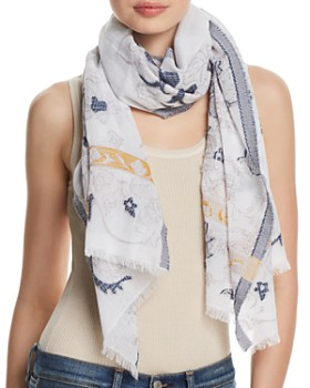 Fraas - Floral Scroll Oblong Scarf