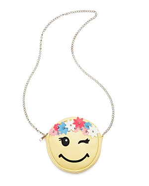 Capelli Girls' Flower-Crown Smiley-Face Emoji Crossbody Bag