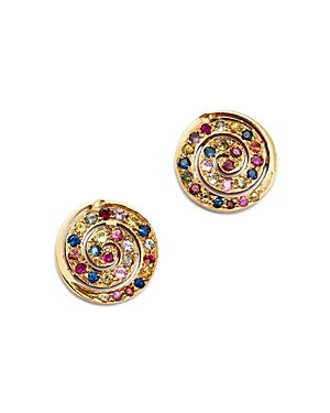 SheBee 14K Yellow Gold Multicolor Sapphire Spiral Stud Earrings