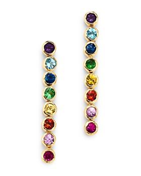 SheBee - 14K Yellow Gold Multicolor Sapphire Linear Drop Earrings