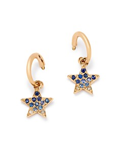 SheBee - 14K Yellow Gold Ombré Sapphire Star Hoop Drop Earrings