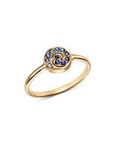 SheBee - 14K Yellow Gold Ombré Sapphire Spiral Ring