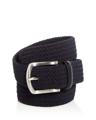 New The Men/'s Store Bloomingdale/'s Khaki Leather Trim Stretch Braided Web Belt