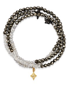 Armenta - 18K Yellow Gold & Blackened Sterling Silver Old World Pyrite, Moonstone & Pavé Diamond Beaded Wrap Bracelet