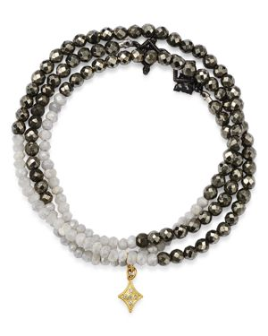 ARMENTA 18K Yellow Gold & Blackened Sterling Silver Old World Pyrite, Moonstone & Pave Diamond Beaded Wrap B in Pyrite/ White Silverite