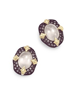 Armenta - 18K Yellow Gold & Blackened Sterling Silver Old World Aquaprase & Champagne Diamond Bezel Stud Earrings