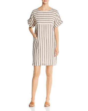 Eileen Fisher Petites Bateau Neck Striped Pocket Dress