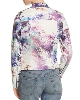Bagatelle - Watercolor Floral Faux Leather Moto Jacket