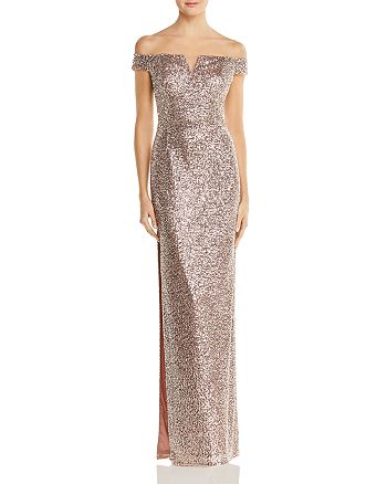 Aidan by Aidan Mattox - Off-the-Shoulder Sequined Gown