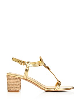 Tory Burch - Women's Miller Leather T-Strap Block Heel Sandals