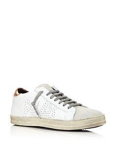 P448 - Women's John Perforated Leather & Snake Print Lace Up Sneakers