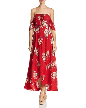 Band Of Gypsies BAND OF GYPSIES OFF-THE-SHOULDER FLORAL-PRINT MIDI DRESS - 100% EXCLUSIVE