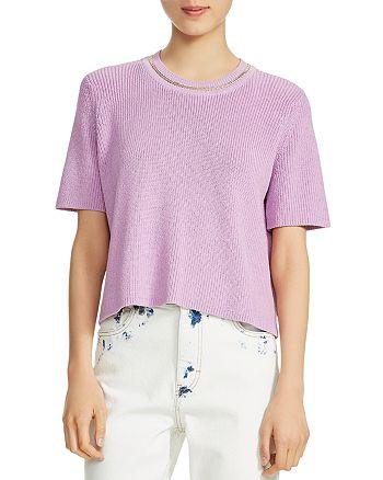 Maje - Short-Sleeve Chain-Trim Sweater
