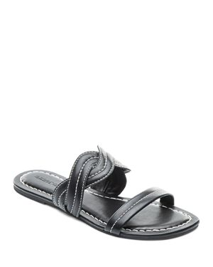 WOMEN'S LEATHER DOUBLE STRAP SLIDE SANDALS