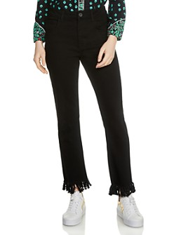 Maje - Panako Skinny Frayed-Hem Ankle Jeans in Black