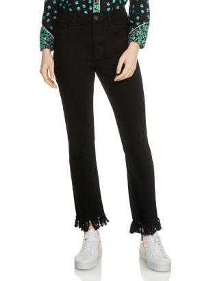 Panako Skinny Frayed Hem Ankle Jeans In Black by Maje
