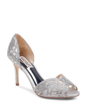 Women'S Harris Embellished Leather & Mesh D'Orsay High-Heel Pumps, Silver Metallic Suede