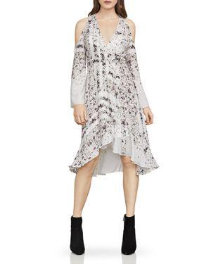 BCBG MAX AZRIA Cold-Shoulder Hummingbird-Floral Dress in Off White