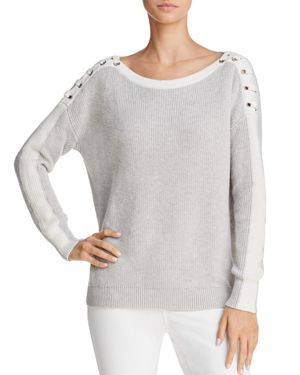 MINNIE ROSE LACE-UP SHOULDER SWEATER