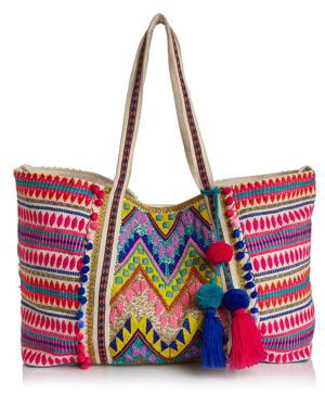 Aqua Multi Bright Embellished Canvas Tote - 100% Exclusive 2892103