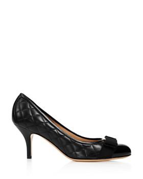 Salvatore Ferragamo - Women's Carla Quilted Leather Cap Toe Pumps