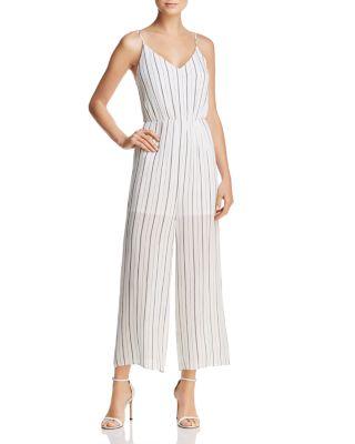 $AQUA Striped Wide-Leg Jumpsuit - 100% Exclusive - Bloomingdale's