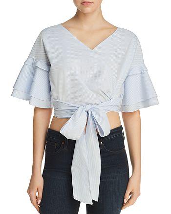 AQUA - Tie-Front Cropped Top - 100% Exclusive