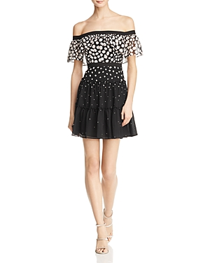 Bcbgmaxazria Printed Off-the-Shoulder Dress