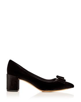 Salvatore Ferragamo - Women's Alice 55 Velvet Block Heel Pointed Toe Pumps