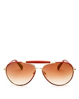 Longchamp - Women's Heritage Family Mirrored Aviator Sunglasses, 61mm