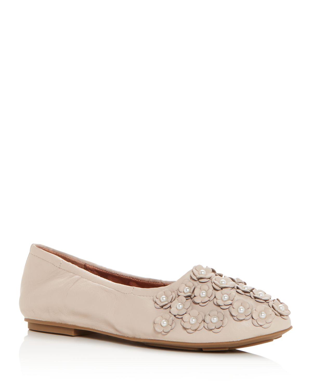 Kenneth Cole Gentle Souls Women's Portia Floral Applique Leather Ballet Flats