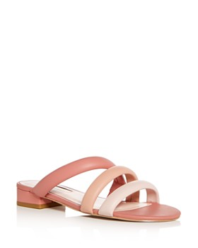 Avec Les Filles - Women's Carla Leather Color-Block Slide Sandals