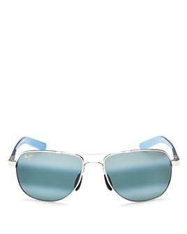 Maui Jim - Unisex Guardrails Polarized Brow Bar Aviator Sunglasses, 58mm