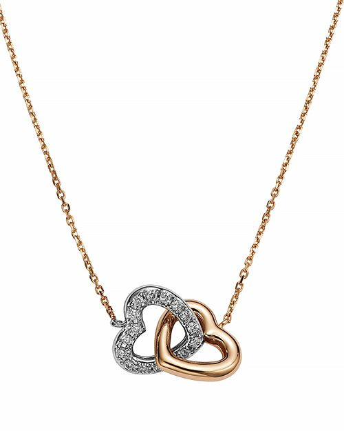 Bloomingdale's - Diamond Interlocking Heart Pendant in 14K Rose and White Gold, .11 ct. t.w.- 100% Exclusive