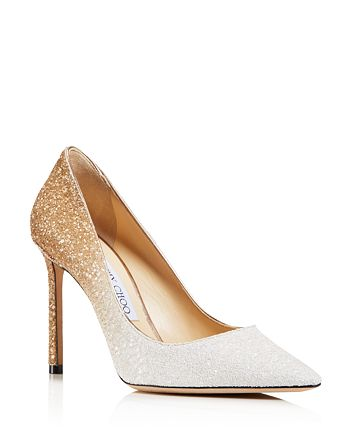 Jimmy Choo - Romy 100 Ombré Glittered Leather Pointed Toe High-Heel Pumps