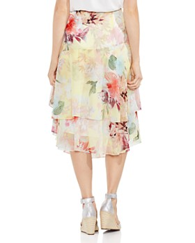 VINCE CAMUTO - Faded Blooms Tiered Midi Skirt