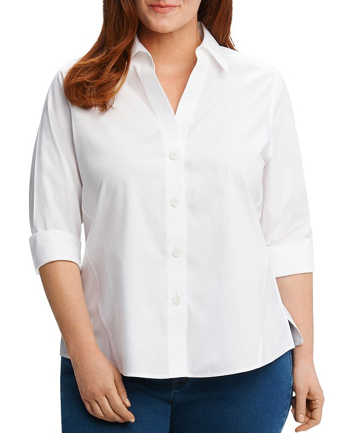 Foxcroft Plus - Paityn Three-Quarter Sleeve Poplin Shirt